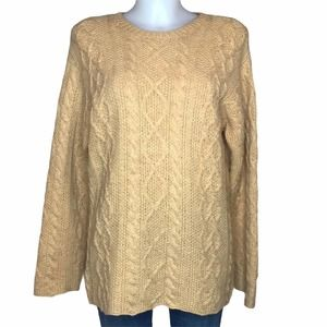 J. Crew Golden Yellow Wool Cable Knit Sweater S